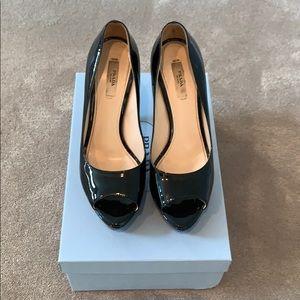 Black Patent Leather Peep Toe Heels